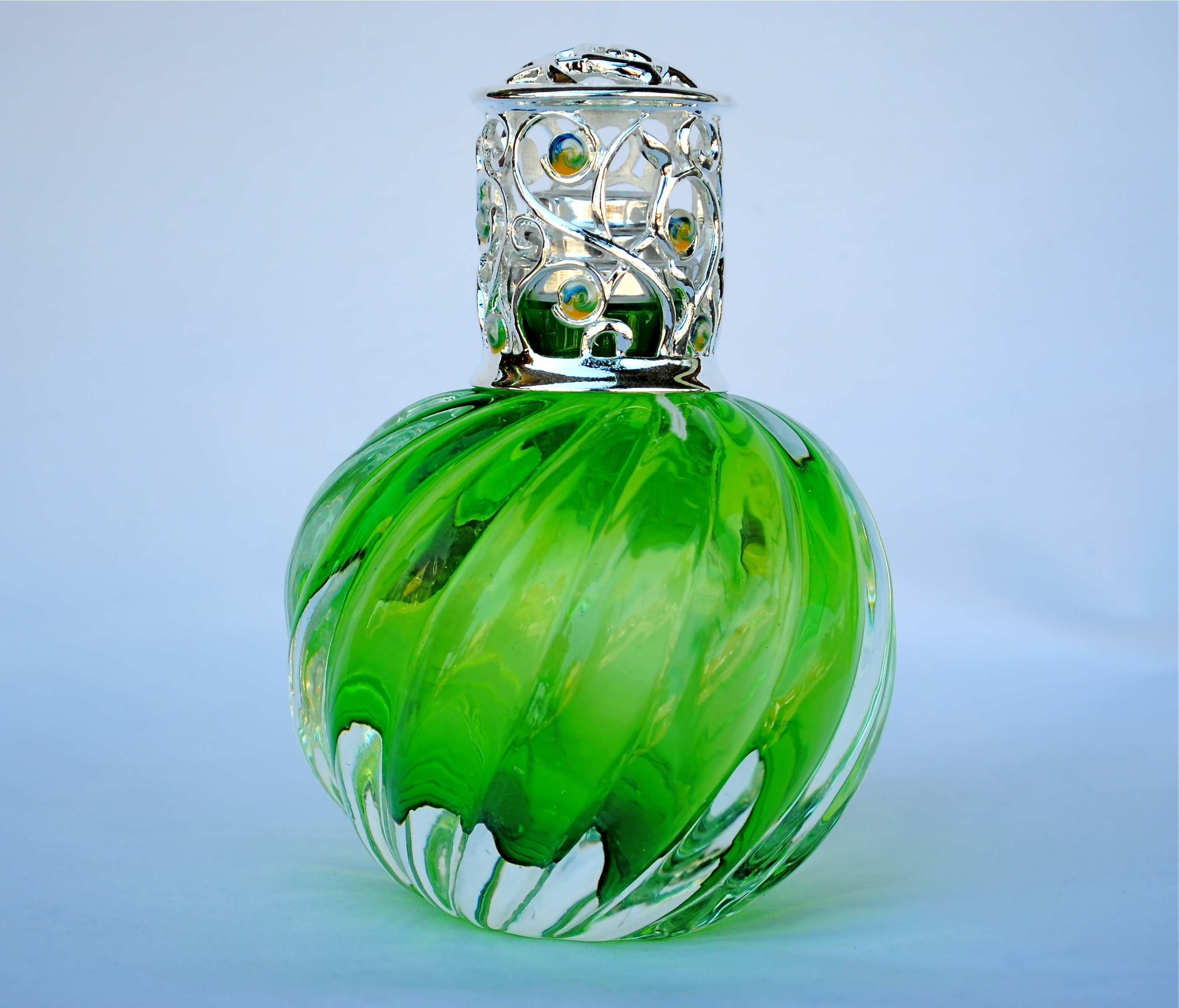 Green Swirl Alexandria Lamp