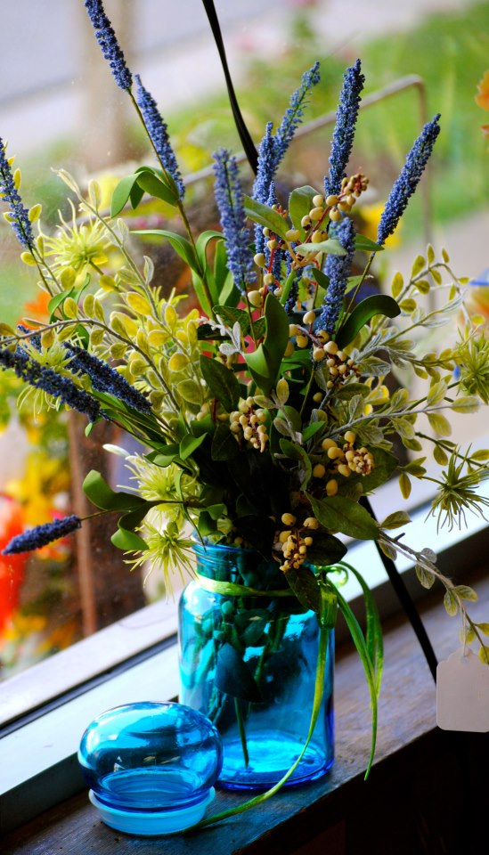 Feeling Blue?  Brighten up your home with a silk arrangement.